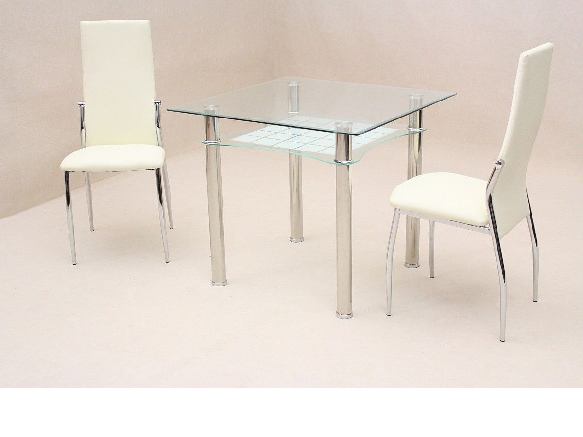 Small square clear glass dining table and 2 chairs for Small dining table with stools