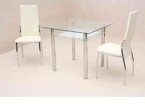 Small square clear glass dining table and 2 chairs set