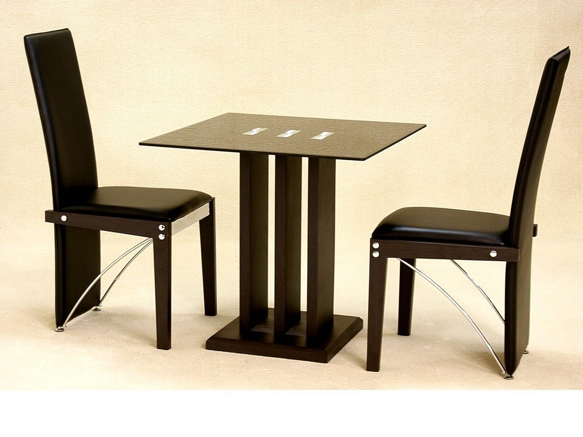 Small square glass dining table and 2 chairs in black for Black glass dining table
