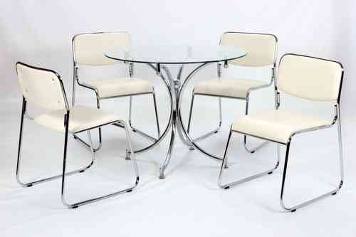 Modern Small Round Glass Dining Table And 4 Chairs Set.