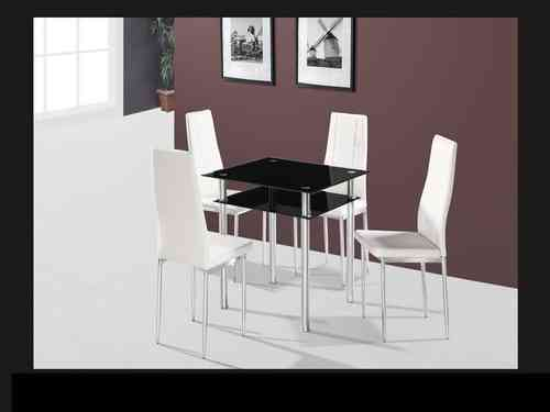 Square black glass dining table and 4 chairs set