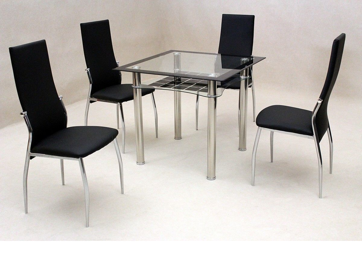 Glass dining table and 4 chairs set starrkingschool for Small black dining table set