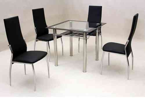 Small square clear & black glass dining table and 4 chairs set