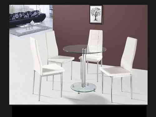 Round clear glass dining table and 4 white chairs set