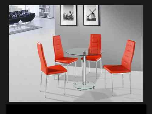 Round clear glass dining table and 4 red chairs set