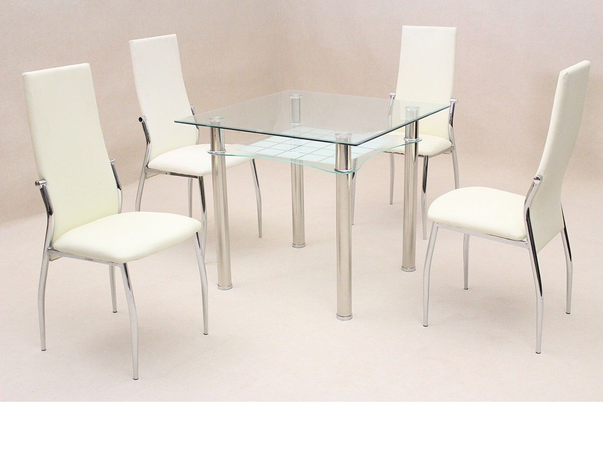 Square clear glass dining room table and 4 chairs homegenies for Dining room table for 4