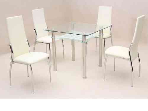 Square clear glass dining room table and 4 chairs set