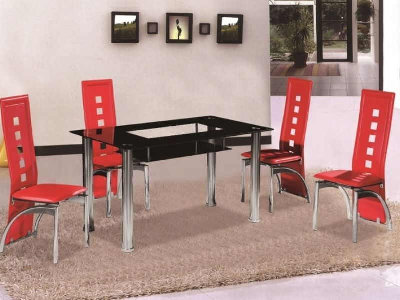 Black Glass Shelf Dining Table And 4 Chairs Homegenies