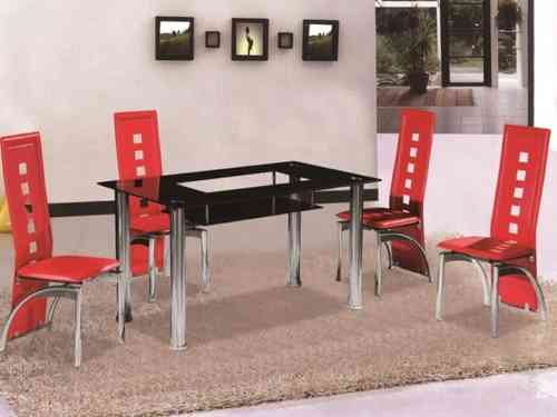 Black Glass Shelf Dining Table and 4 Chairs set