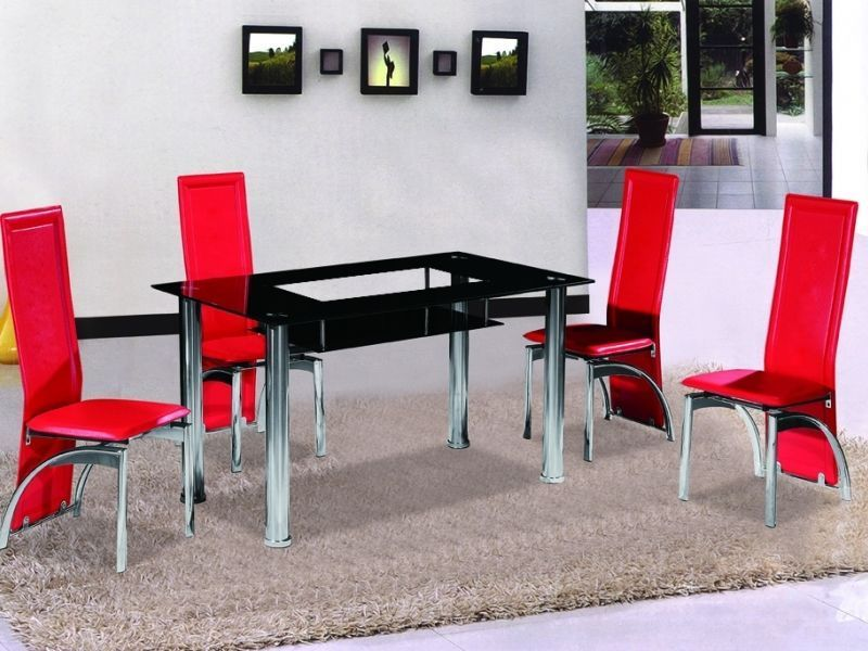 Black Glass Dining Table And 4 Red Chairs Homegenies