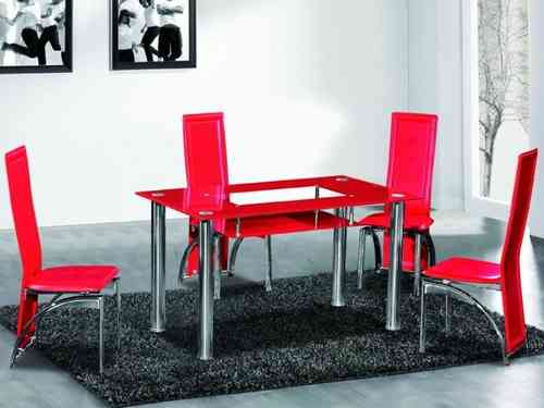 Full Red Glass Dining Table and 4 Chairs Set