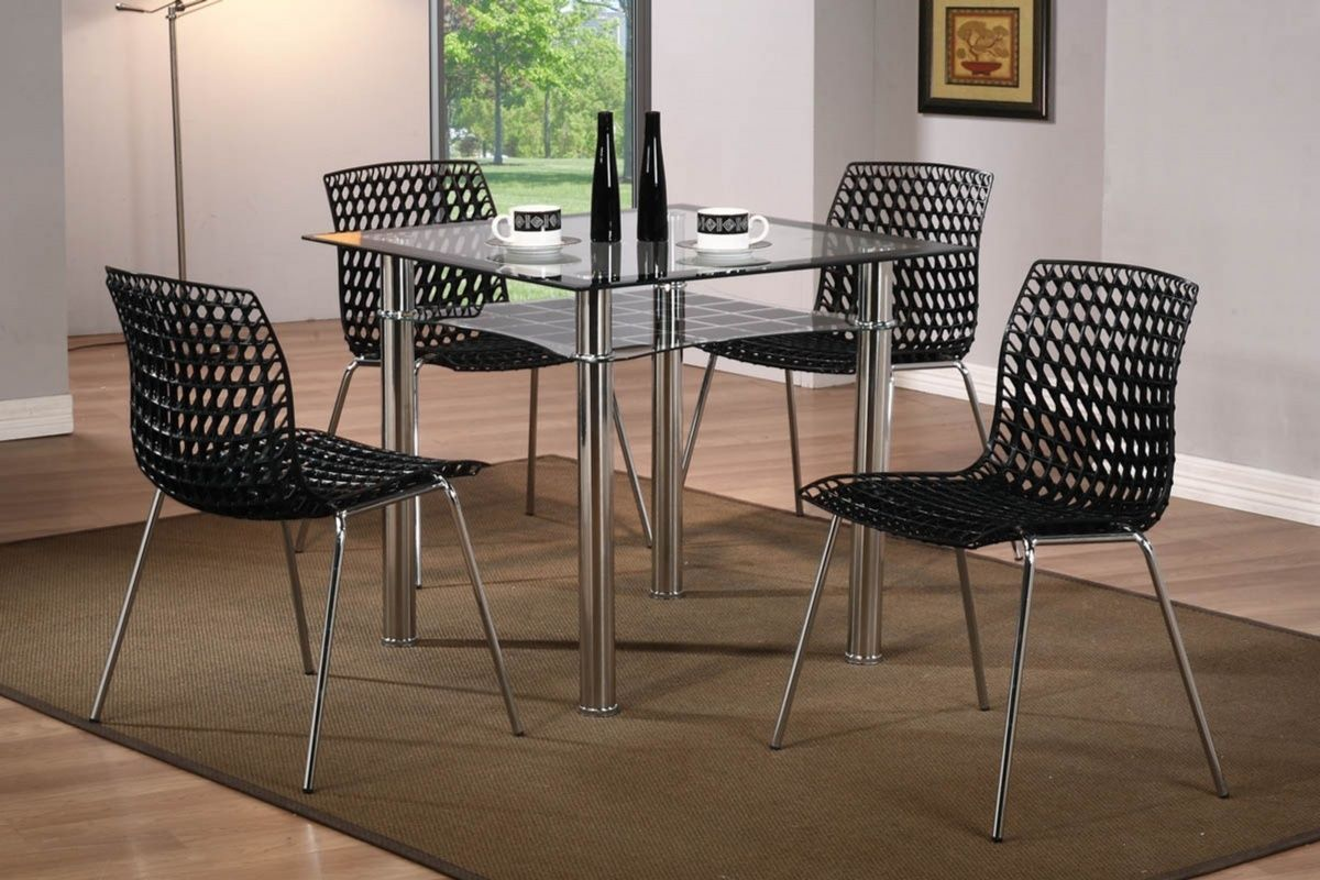 Modern Small Square Glass Dining Table And 4 Chairs Set