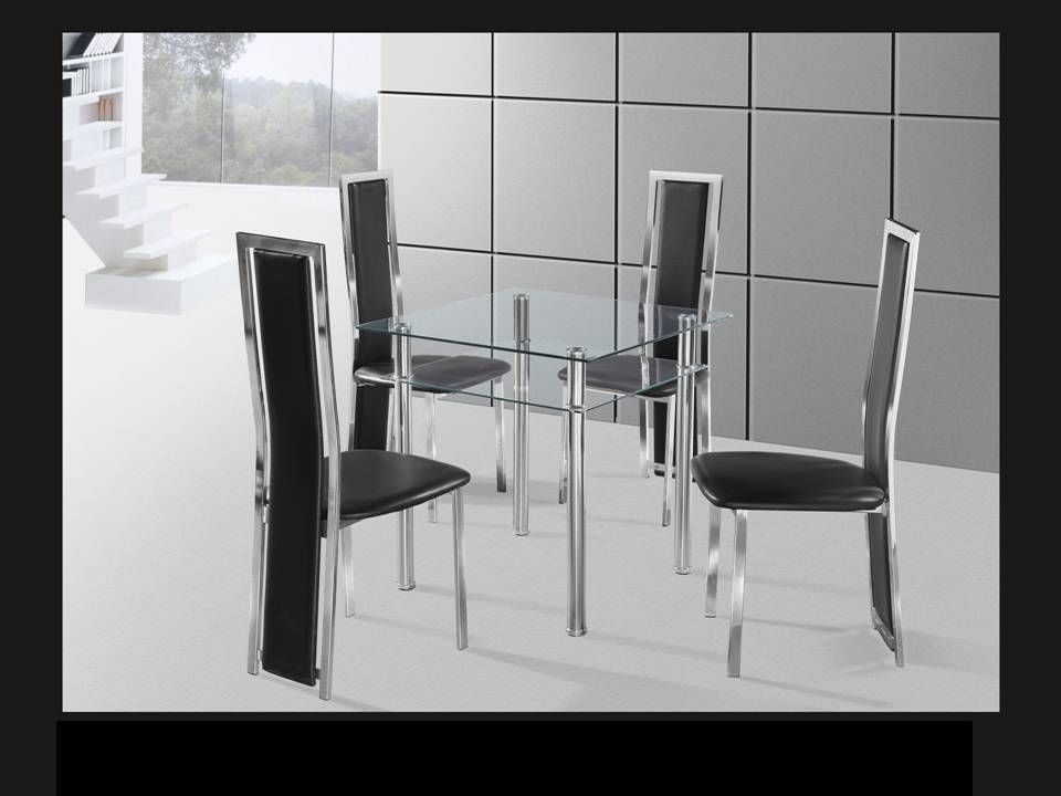 Square Clear Chrome Glass Dining Table And 4 Chairs Homegenies