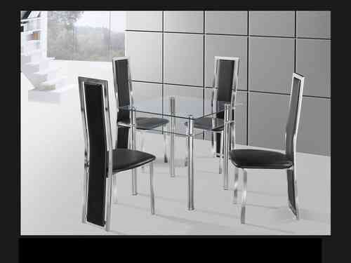 Square Clear & chrome glass dining table and 4 chairs set