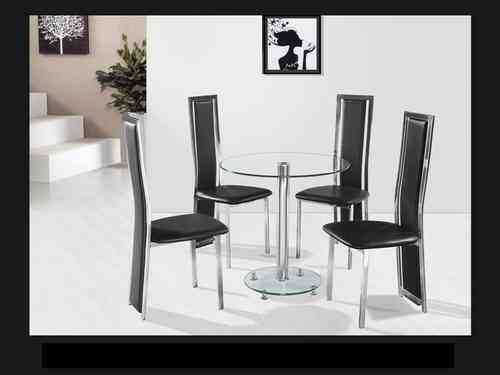 Round clear glass chrome dining table and 4 black chairs set