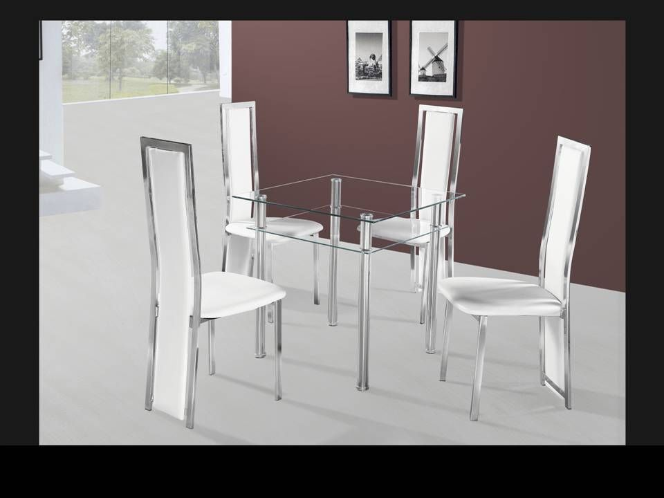 Small square clear glass dining table and 4 chairs for Mini dining table and chairs