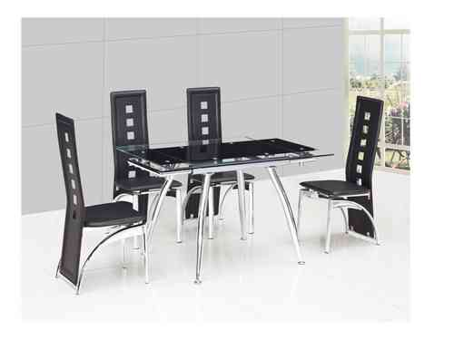 Small black extending glass dining table and 4 black chairs set