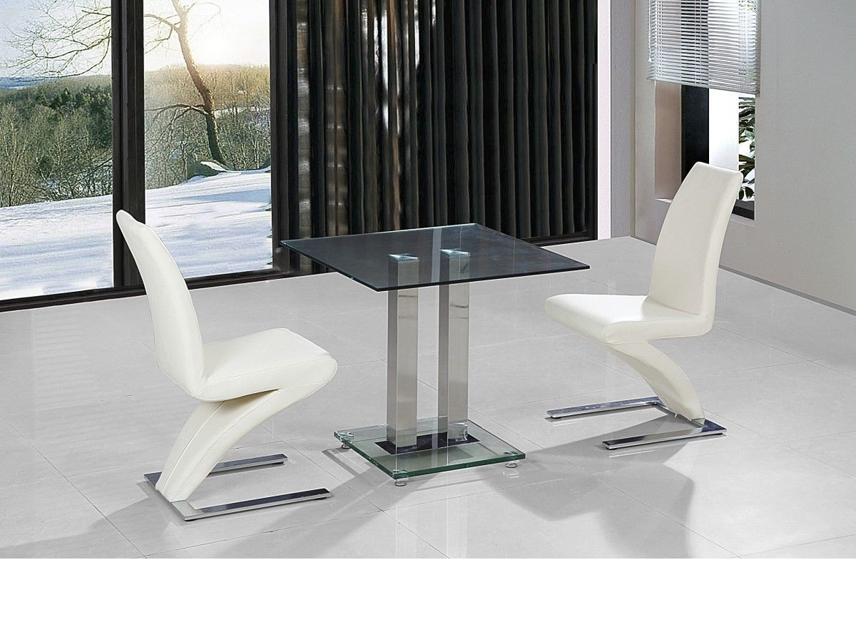 Glass Dining Table Set For 2: Small Clear Glass Dining Table And 2 Faux Chairs In Cream