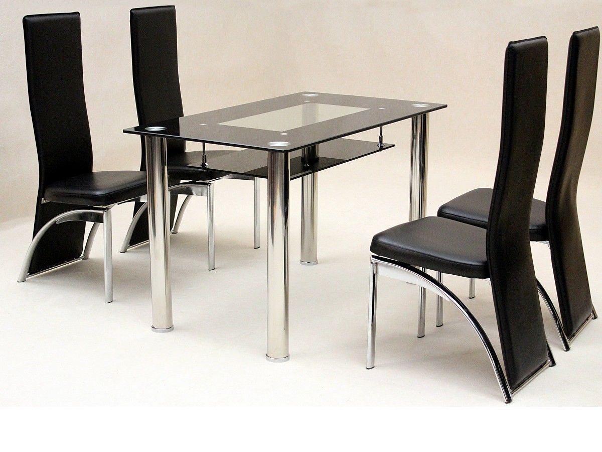 Small Glass Dining Table And 4 Faux Chairs In Black
