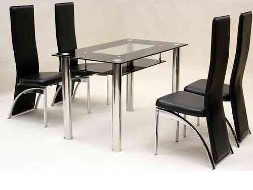 Small glass dining table and 4 faux chairs in black set