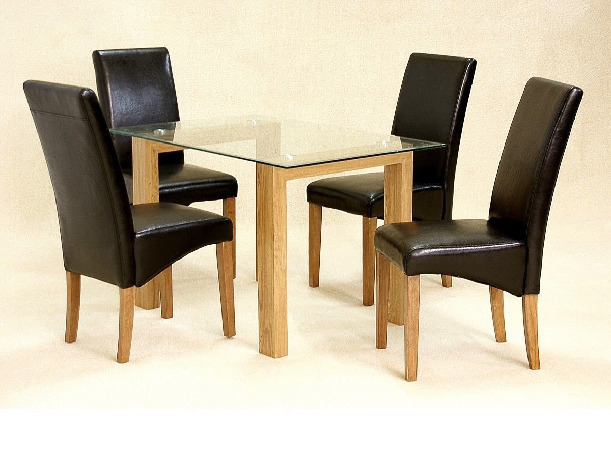 Glass dining table and 4 chairs clear small set oak wood for Table and chairs furniture