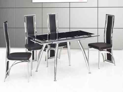Small black extending glass dining table and 4 new style black chairs set
