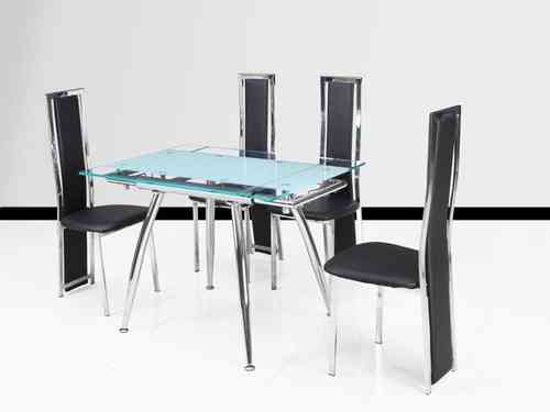 Small clear and frosted extending glass dining table and 4 black chairs set