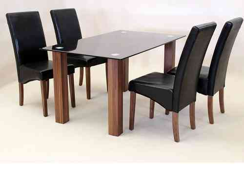 Large 150cm black glass dining table and 4 faux black chairs set