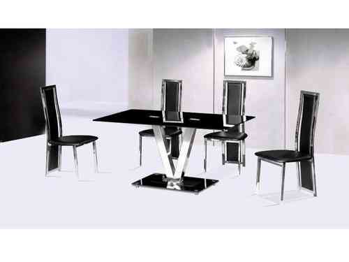 Black glass and chrome dining table and 6 chairs seater set