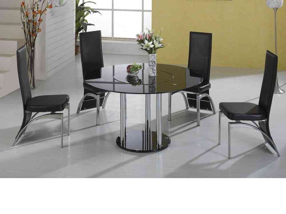 Lazy Susan Round Black Glass Dining Table And 4 Black Faux Chairs