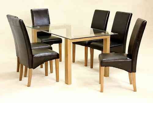 Glass dining table and 6 chairs clear large set oak wood finsh set