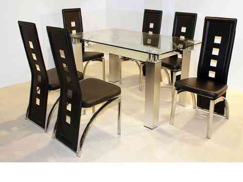 San clear glass dining table and 6 chairs in black set