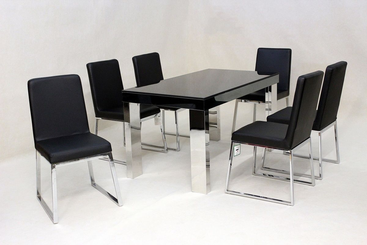 Designer Glass Table And Chairs: Modern Black Glass Dining Table And 6 Chairs