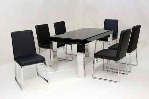Modern black glass dining table and 6 chairs set