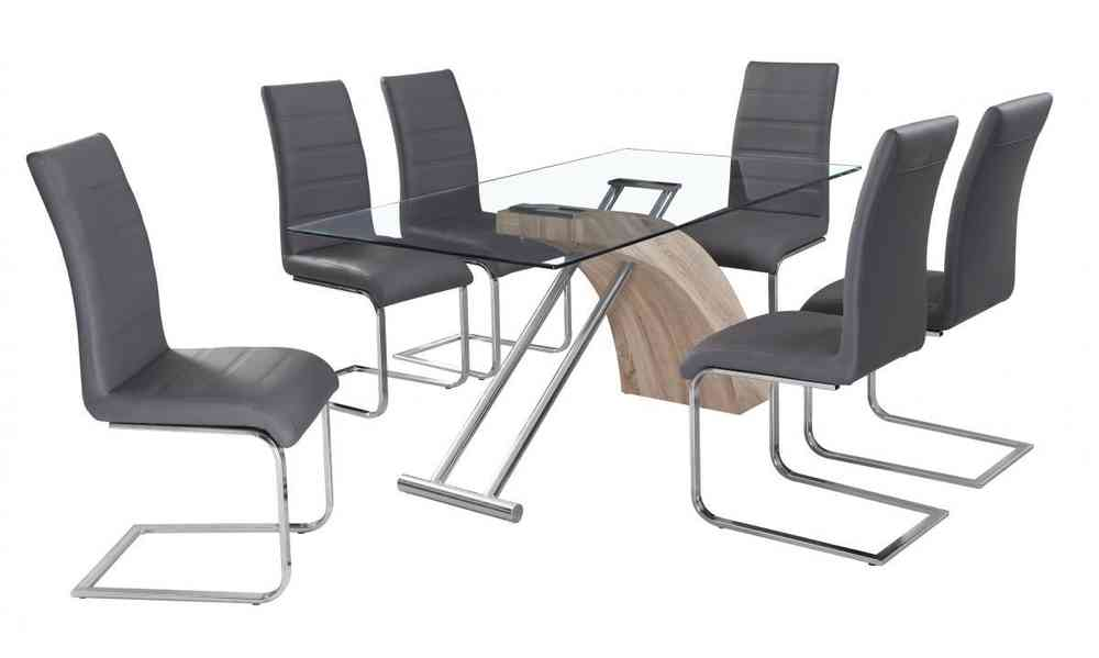 glass dining table and 6 chairs in grey homegenies