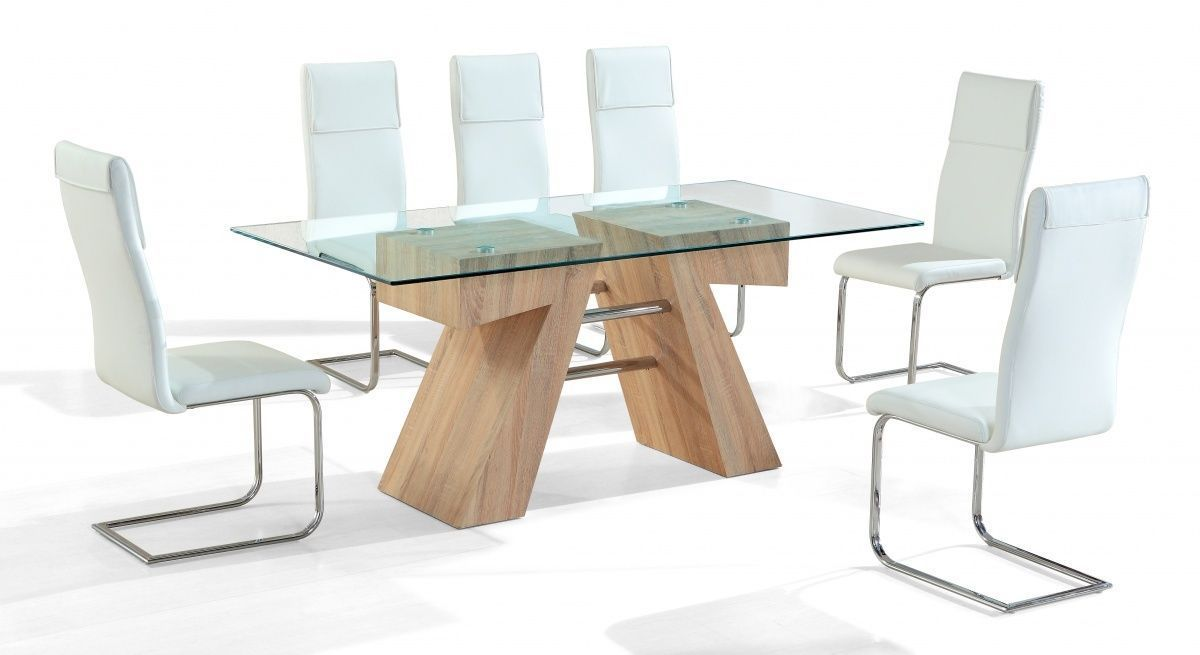Clear Glass Dining Table And 6 White Chairs Homegenies