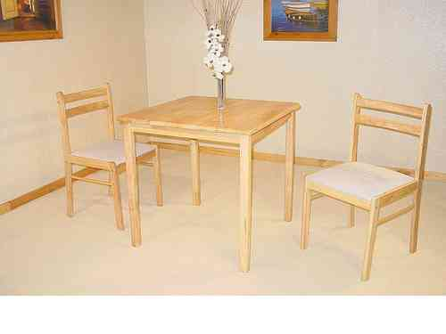 Small square solid rubberwood dining table & 2 chairs set