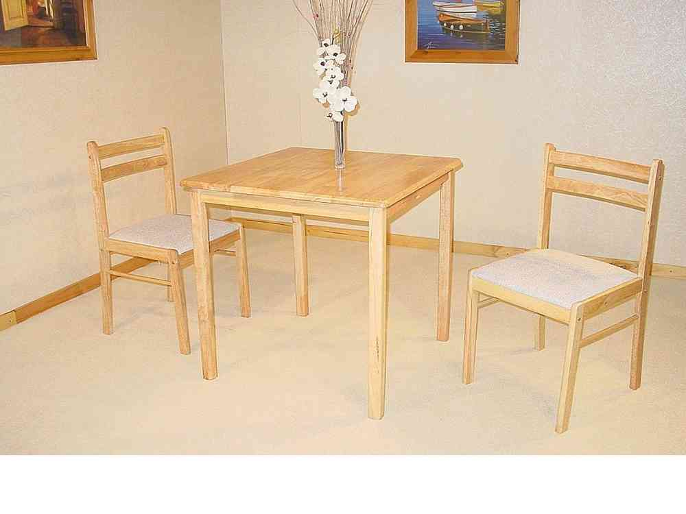 2ab0897a400 Small square solid rubberwood dining table   2 chairs -Homegenies