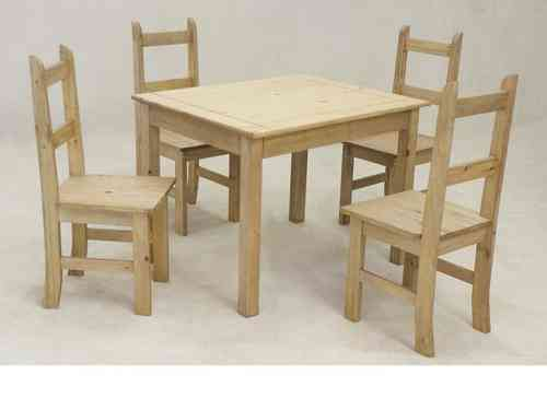 Wooden square solid pine dining table and 4 chairs set