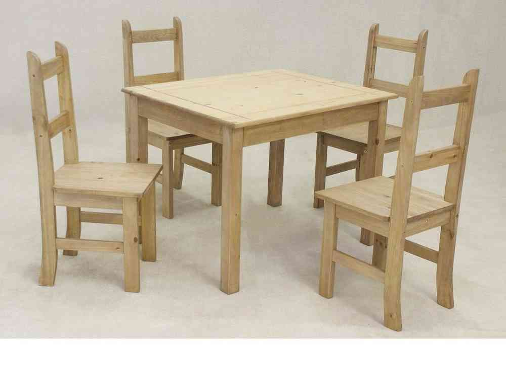 Wooden Square Solid Pine Dining Table And 4 Chairs Homegenies