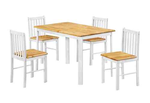 Oak wooden dining table and 4 chairs set