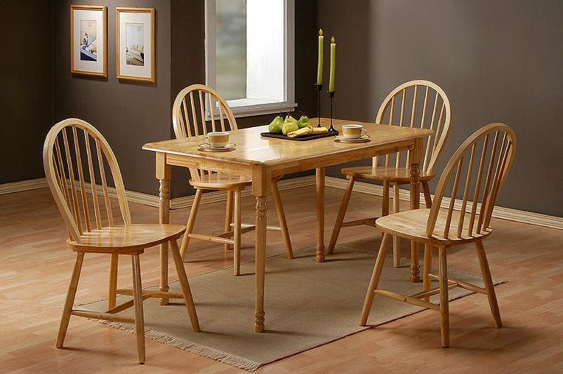 Solid Rubber Wood Dining Table And 4 Chairs Homegenies