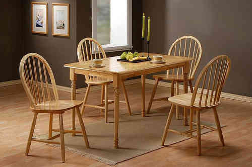 Solid Rubber Wood Dining Table and 4 Chairs set