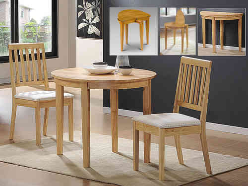 Round Wooden Dining Table and 2 Chairs set