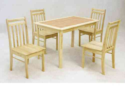 Wooden dining table and 4 chairs solid rubberwood with tiled top set