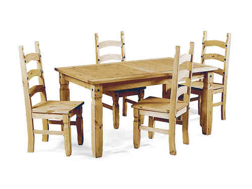 Soild Pine Wooden Dining Table and 4 Chairs set