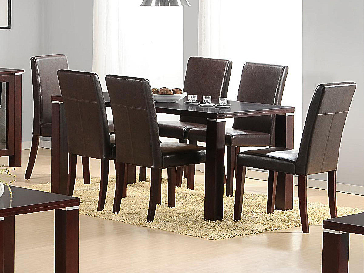Mahogany Wooden Dining Table And 6 Brown Faux Chairs
