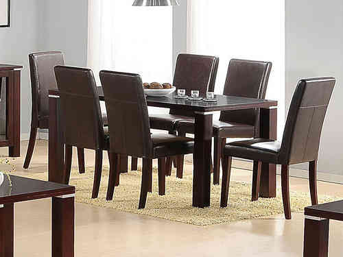 Mahogany Wooden Dining Table and 6 Brown Faux Chairs set
