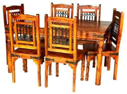 Jaipur Solid Acacia Wooden Dining Table and 6 Chairs set