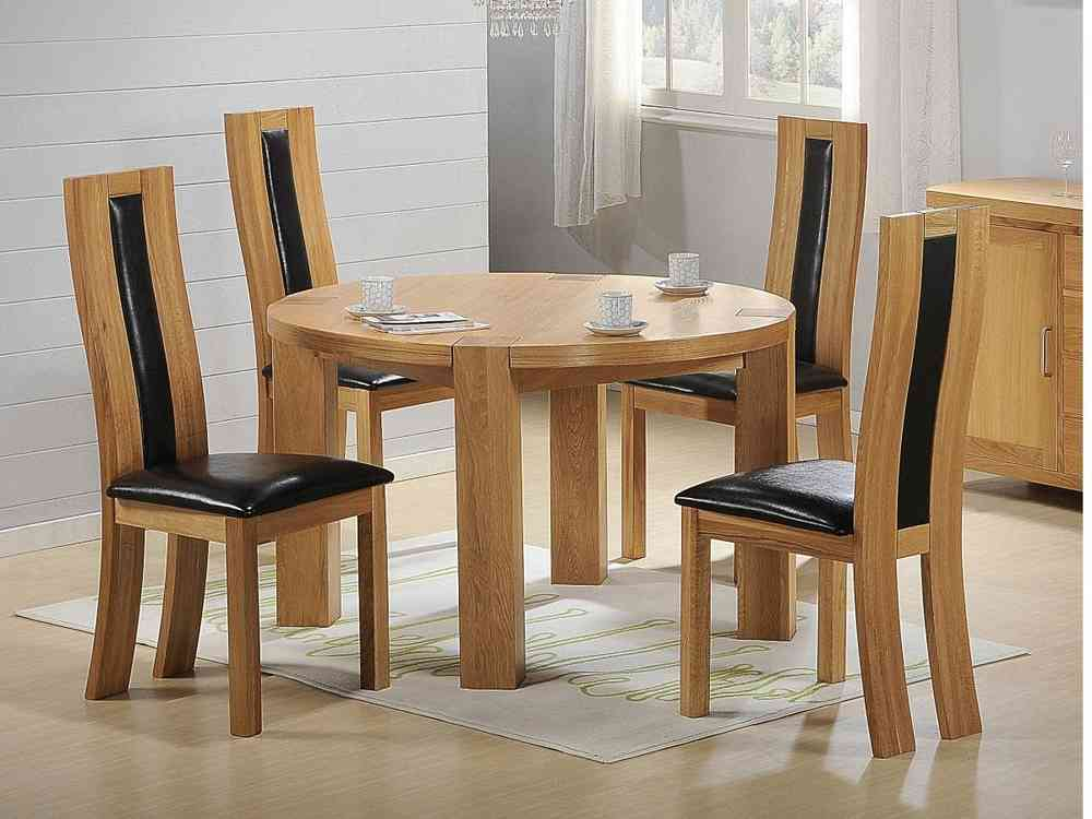 Solid Wooden Round Dining Table And Chairs Oak Homegenies - Solid wood round dining table for 4